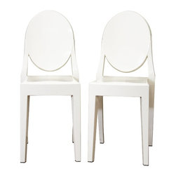 Wholesale Interiors - Ivory Acrylic Ghost Chairs, Set of 2 - These otherworldly opaque ivory accent or dining chairs are simultaneously formal, modern, classic, and lightweight. Each chair is a sturdy acrylic and is conveniently stackable. Included on each foot is a plastic non-marking foot to help protect sensitive flooring. These chairs are also available with armrests as well as in transparent clear and opaque black.