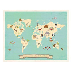 """Rebecca Peragine Inc / Children Inspire Design - Global Compassion World Map 24x18 Children's Wall Art Poster - The whimsical and modern 24x18"""" global World map depicts animals and children from around the world creating a stylish approach to teaching kids about the Earth through nursery or playroom artwork."""