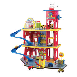 "KidKraft - Kidkraft Home Indoor Kids Children Playroom Deluxe Garage Set - Our Deluxe Garage Set is loaded with fun, interactive features and will keep kids entertained for hours at a time. This exciting wooden set gives kids so many options, they'll never run out of new ways to play. Dimension: 30""x 17.5""x 25"""