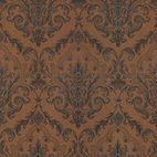 Mirage - Consuela Copper Damask Wallpaper - Nothing is more elegant than damask, and this copper pattern is the ultimate in sophisticated wall design. This prepasted wallpaper is both opulent and practical: 56.38 square feet of scrubbable, easy to remove solid sheet vinyl.