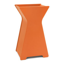Loll Designs - Hourglass Planter, Sunset Orange, Large - Who says you have to be a square when it comes to designing containers? Our friend Steve Cozzolino created this whimsical look that will add a depth and inspiration to your garden. The large hourglass Container will make quite a statement as a front door piece. Available in two sizes.