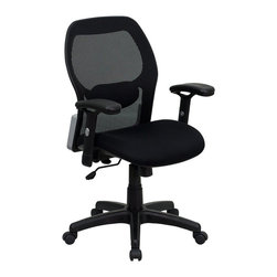 Flash Furniture - Flash Furniture Mid-Back Super Mesh Office Chair in Black - Flash Furniture - Office Chairs - LFW42BGG - This value priced mesh office task chair will accommodate your essential needs for your home or office. Chair features a breathable mesh back with a comfortably padded seat. The silver accented back adds a touch of flair to highlight your work space. [LF-W42B-GG]