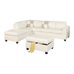 Poundex - Poundex F7354 Cream Bonded Leather Living Room Sectional Sofa - The Poundex F7354 sectional sofa has a simple modern look that works for any living room decor. This sectional comes upholstered in a beautiful cream bonded leather in the front. Skillfully chosen match material is used on the back and sides where contact is minimal. High density foam is placed within the cushions for added comfort. Only hardwood products were used when crafting the sectional making it very durable. The two patterned accent pillows and matching ottoman shown come included. Attached to the bottom are brown finished wooden legs.