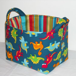 Fabric Storage Bin, Dinosaurs by Needle Nook Creations - Got a bunch of stuff laying around (toy dinos, perhaps)? Dino-store it in this cute handmade storage tote.