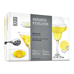 Molecular Gastronomy Margarita R-Evolution Kit - Experience the unexpected with three avant-garde margarita recipes!  Play with the texture of your cocktail to add an element of surprise! Create a margarita slush topped with a fresh lemon mousse  add a splash of color by creating blue azure suspended pearls or encapsulate your margarita into an edible cocktail!  Product Features      1 slotted spoon   2 pipettes   1 silicone mold   Recipe book    Additives Included      4 sachets of Sodium Alginate   4 sachets of Calcium Lactate   2 sachets of Soy Lecithin