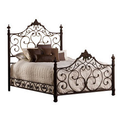 Hillsdale Furniture - Hillsdale Baremore Metal Bed in Antique Brown - Queen - Reminiscent of the romantic, wrought-iron classics, the Baremore Bed will add an antique ambience to any bedroom. The Baremore's weathered dark brown finish makes it a neutral fit for a variety of design aesthetics. Available in queen and king size, or just as a headboard. Matching rails included. Some assembly required.