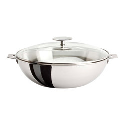 Cristel - Cristel Casteline Stainless Steel 4-quart Wok w/Glass Lid - The key to successful wok cooking is evenly spaced high temperature. So sizzle your food to perfection in this reliable pan featuring multiple layers of stainless steel, surrounding an aluminum core. When you're finished, easily remove the handle for simple storage.