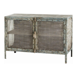 "Arteriors - Arteriors Home - Finn Cabinet - 2487 - This double door iron chest with richly patinaed wash Features: meshwork front and sides, rivet construction and one stationary wood shelf. Features: Finn Collection CabinetRivet construction and one stationary wood shelf Some Assembly Required. Dimensions: W 48"" x D 20"" x H 32.5"""