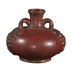 """Howard Elliott - Howard Elliott Aged Red Glaze Ceramic Urn - Aged Red Glaze w/Rustic Accents Ceramic Urn. The high-style design and high-end materials in the urns are what set Howard Elliott apart from the competition. Howard Elliott's innovative product line is carefully designed and packaged to ensure low damage rates for their high quality and custom items. Finish/Frame/Fabric Description: Aged Red Glaze. Material: Ceramic. Product Dimensions: 10"""" x 9"""" x 9""""."""