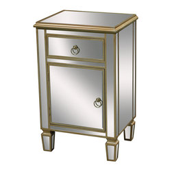 Sterling Industries - Sterling Industries 6043620 Broadway Chest - This Mirrored Chest Is Perfect For Bedside Use. Cabinet And Drawer Provide Storage And Handpainted Soft Gold Edging Creates A Softness, Making This A Great Accent Piece For A Wide Range Of Settings.  Chest (1)