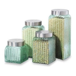 Oggi - Oggi Ribbed Glass 4-Piece Canister Set in Green - Oggi Ribbed Glass 4-Piece Canister Set features stainless steel airtight lids to seal in freshness. Wide-mouth lip for easy filling.