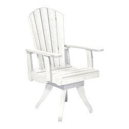 C.R. Plastic Products - C.R. Plastics Dining Arm Swivel Chair In White - C.R. Plastics Dining Arm Swivel Chair In White