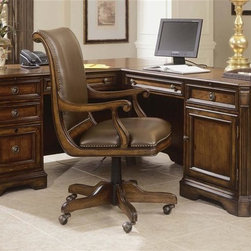 Hooker Furniture - Brookhaven Executive L-Shaped Desk w Chair - Create a stately yet inviting office decor with this L-shaped desk and chair set, featuring an executive desk with a left return and a right return with file drawers and printer storage. The desk is made of hardwood solids and cherry veneers in distressed cherry finish and is paired with a lather upholstered chair with nailhead detailing for added visual interest. Includes left pedestal desk, right pedestal return and chair. Left Pedestal Desk. Three drawers on steel ball bearing slides. Two utility drawers. Partitioned storage tray in top utility drawer. Three sections in second utility drawer. One file drawer wtih pendaflex hanging file system. Center drawer with drop-front for use with a computer. Pullout writing shelf. Pedestal lock for all drawers. Wire access grommets. Made from hardwood solids with cherry veneers. Highly distressed medium clear cherry finish. Keyboard Area: 20.38 in. W x 19 in. D x 3 in. H. Kneespace Area: 24.5 in. H. 68.25 in. W x 29 in. D x 30.5 in. H. Assembly InstructionRight Pedestal Return. One door with one adjustable shelf behind. Center drawer with drop-front for use with a computer. One utility drawer with partitioned storage tray. All drawers on steel ball bearing drawer slides. Pullout writing shelf. One pullout tray for printer. Wire access grommets. Printer Area: 18 in. W x 19 in. D x 15 in. H. Kneespace Area: 24.5 in. H. 50 in. W x 25 in. D x 30.63 in. H. Assembly InstructionChair. Tilt and swivel desk chair with pneumatic lift. Leather seat and back. Casters. 23.5 in. W x 28.69 in. D x 42 in. H(66 lbs.). Assembly Instruction