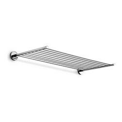 "WS Bath Collections - Duemila 23.6"" Towel Rack - Duemila By WS Bath Collections Towel Rack in Polished Chrome, Solid Brass Base, Made in Italy"