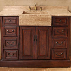 James Martin Furniture - 48 in. Single Vanity in Cherry Finish - Faucet not included. Travertine top. Custom travertine sink. Three layer hand applied varnish. Increases durability and prevents warping. Full extension drawers operate on 20,000 rpm ball bearing guide systems. Warranty: One year. No assembly required. 48 in. W x 23 in. D x 36 in. H
