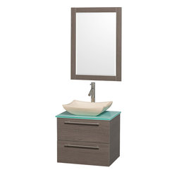 Wyndham - Amare 24in. Wall Vanity Set in Grey Oak w/ Green Glass Top & Ivory Marble Sink - Modern clean lines and a truly elegant design aesthetic meet affordability in the Wyndham Collection Amare Vanity. Available with green glass or pure white man-made stone counters, and featuring soft close door hinges and drawer glides, you'll never hear a noisy door again! Meticulously finished with brushed Chrome hardware, the attention to detail on this elegant contemporary vanity is unrivalled.