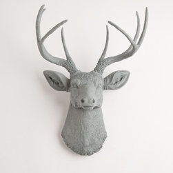 The Geoffrey Stag Deer Head, Gray Resin - Gray is such an on-trend color right now, so what could be better than hanging this elegant gray resin deer head on the wall?