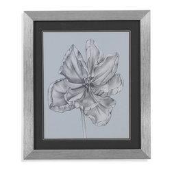 Bassett Mirror - Bassett Mirror Framed Under Glass Art, Silver Blue Tulips IV - Silver Blue Tulips IV
