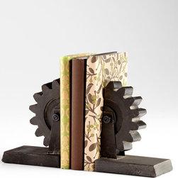 Cyan Design - Gear Bookends - Gear bookends - raw steel
