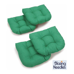 Blazing Needles - Blazing Needles Outdoor Spun Poly Chair/ Rocker Cushions (Set of 4) - Add vibrant color to your outdoor patio furniture with this bright spun-polyester chair/ rocker cushion set from Blazing Needles. Perfect for outdoor use,these beautiful tufted cushions will lend comfort and style to your outdoor living space.