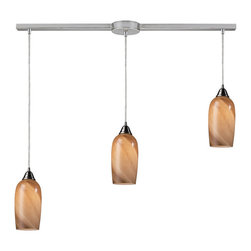 Elk Lighting - Elk Lighting 31137/3L 3- Light Pendant in Satin Nickel - 3- Light Pendant in Satin Nickel belongs to Sandstone Collection by Elk Lighting Individuality Is What Defines This Exquisite Line Of Hand-Blown Glass. This Ancient Technique Of Fine Craftsmanship Ensures That Quality And Originality Is At The Heart Of Every Piece. Each Piece Is Meticulously Hand-Blown With Up To Three Layers Of Uncompromising Beauty And Style. This Art Is Performed Only By Skilled Craftsmen Who Uphold The Highest Standards To Ensure A Unique Identity Throughout Each Layer. The Special Technique Of Layering Allows Light To Spread Evenly Across The Glass Resulting In A Warm Glow Over The Entire Surface. The Illuminare Glass Collection Offers A Choice Of Many Unique Designs In A Variety Of Colors And Styles, Allowing These Italian Inspired Works Of Art To Be Adaptable To Any Decor. Pendant (1)