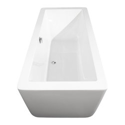 Wyndham Collection - Laura 67 inch Deep Soaking Bathtub in White (Freestanding) with Chrome Drain - The Laura Soaking Tub - chic, elemental, bold and minimalist. Your bathroom is a sanctuary, so set it off by making a statement with your style, fill your tub with warm water, place a votive or two on the edge, lay back and relax. Now breathe in deeply, close your eyes and just.... enjoy.