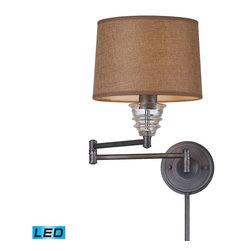 Elk Lighting - Elk Lighting 66824-1-LED Insulator Glass Traditional Swingarm Wall Sconce - Elk Lighting 66824-1-LED Insulator Glass Traditional Swingarm Wall Sconce in Weathered Zinc