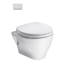 Toto - Toto CWT418MFG-2#01 White Aquia Wall-Hung Toilet & In-Wall Tank System - The retangular build and modern styling of the Aquia series will bring a contemporary feel and beautiful look to any bath.