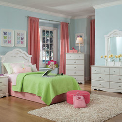 Standard Furniture - Standard Furniture Daphne 5 Piece Headboard Bedroom Set in White - Daphne's soft white finish  curvy feminine shapes and delicate floral ornaments makes this charming Victorian cottage group perfect for every little girl's dream room.