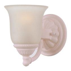 Joshua Marshal - Chesapeake One Light Blush White Faux Alabaster Glass Wall Light - One Light Blush White Faux Alabaster Glass Wall Light