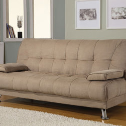 Coaster - Tan Contemporary Sofa Bed - Tan microfiber sofa bed with removable arm rests. Hardwood frame, kiln dried, spring back and webbing, standard foam with metal legs.