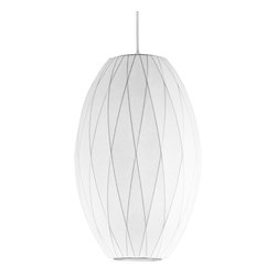 Modernica - Bubble Lamp, Cigar Criss Cross Medium - Taking its cues from midcentury design, this handcrafted ceiling pendant features a white crisscross shade, six feet of white cord and a nickel ceiling plate. Flank your bed or line a few over your kitchen island for a little earthy, organic and modern enlightenment.