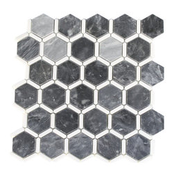"Florentine Dark Bardiglio Marble Tile With Thassos Line - FLORENTINE DARK BARDIGLIO WITH THASSOS LINE 2"" HEXAGON 1 1/4"" X 1/3"" LINES Each piece of this stone tile fits into the next like a perfect puzzle. Its stunning design and unique pattern of honeycomb will bring warmth and a natural ambience to your home. A stone backsplash will not only make your wall more attractive but also help protect it from damage caused by water or grease spatters.The mesh backing not only simplifies installation, it also allows the tiles to be separated which adds to their design flexibility. Chip Size: 2"" Line: 1 1/4"" x 1/3"" Color: Dark Bardiglio and Thassos Material: Bardiglio and Thassos Stone Finish: Polish Sold by the Sheet - each sheet measures 12"" x 12"" (1 sq. ft.); 6 rows per sheet Thickness: 3/8"""