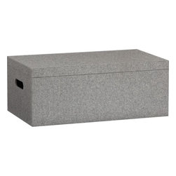 Grey Felt Storage Box - Items made from felt have a homespun element and remind me of my childhood. These storage boxes could be used in a boy's or girl's room to keep the clutter at bay.