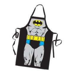 Batman BBQ Apron - When the Bat-signal flashes in the sky, what will do? Put on your Bat-suit and save the day of course! But, probably not before you finish making that delicious looking sandwich you've spent the last 10 minutes on.