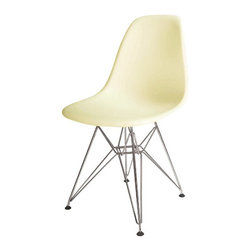 """Advanced Interior Designs - Eiffel Wire Base Chair, Flat Cream - Eiffel Base Side Chair is a good choice for a wide variety of settings, both indoors and outdoors; for domestic use, restaurants, waiting areas, offices, conference rooms, or even large auditoriums. The Eiffel wire base chair has an """"Eiffel Tower"""" style steel base and plastic shell seat."""