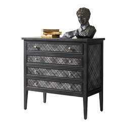 Silver Nest - Black Plaid Chest - Black wood accent chest with plaid drawer fronts. Four drawers.
