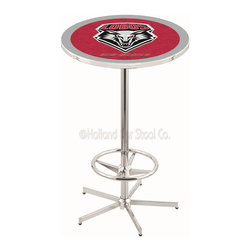 Holland Bar Stool - Holland Bar Stool L216 - 42 Inch Chrome New Mexico Pub Table - L216 - 42 Inch Chrome New Mexico Pub Table  belongs to College Collection by Holland Bar Stool Made for the ultimate sports fan, impress your buddies with this knockout from Holland Bar Stool. This L216 New Mexico table with retro inspried base provides a quality piece to for your Man Cave. You can't find a higher quality logo table on the market. The plating grade steel used to build the frame ensures it will withstand the abuse of the rowdiest of friends for years to come. The structure is triple chrome plated to ensure a rich, sleek, long lasting finish. If you're finishing your bar or game room, do it right with a table from Holland Bar Stool.  Pub Table (1)