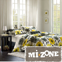 Mi-Zone - Mizone Blythe Yellow/Grey 4-piece Comforter Set - Brighten any bedroom in the house with this colorful floral 4-piece comforter set. The set features bright yellow and gray flowers on a white background with black leaf accents. It comes with a comforter,two matching shams,and a throw pillow.