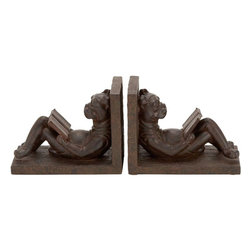 Benzara - Polystone Bookend Pair In Brownish- Gray Tone - If you are looking for low cost but rare to find elsewhere decor item to bring extra galore that could refresh the decor appeal of short spaces on tables or shelves, beautifully carved 44657 Polystone Bookend Pair may be a good choice.