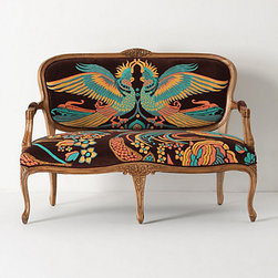 Louisa Settee, Cockatoo - The design on this couch is so unique! It is definitely a statement couch.