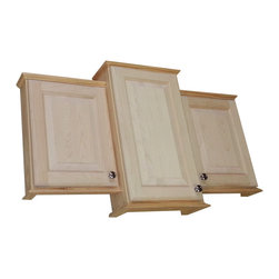 "WG Wood Products - 18/24/18"" Ashley Triple Series On-The-Wall Bath Cabinet - 5.5""Deep - Mounts On-The-Wall with built in cleats inside for an easy installation. Two fully adjustable glass shelves in each section. Raised Panel style doors sits on concealed hinges, doors are left undrilled for a knob or handle so you can mount the center one to open either direction. Both side doors must open to the outside. Perfect as a medicine cabinet, spice cabinet, or storage cabinet anywhere. Overall Measurements are 25.5h x 43.25w x 6""d. The center cabinet is 5.5""Deep inside. The two side cabinets are 3.5""Deep inside. Natural pine finish can be painted or stained. Solid maple doors. Proudly made in the USA."