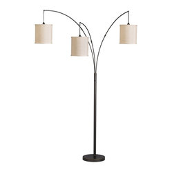 Kichler Lighting - Kichler Lighting KCH-74264 Transitional 3-Light Arc Floor Lamp - With simple lines and tasteful detailing, this 3 light floor lamp from the Light Arc collection leaves an elegant impression. Constructed from steel, its oil rubbed bronze finish and off white textured hard back shade form a refined profile.