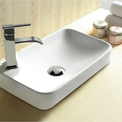 Caracalla - Rectangular White Ceramic Self Rimming bathroom Sink - Contemporary design, rectangular white ceramic self rimming bathroom Sink with one hole. Stylish self-rimming washbasin comes without overflow. Made in Italy by Caracalla. Made out of white ceramic. Modern style. Without overflow. Standard drain size of 1.25 inches.