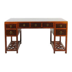 Pre-owned ChineseTwo-Tone Wooden Desk With Patterned Shelves - A fantastic Chinese writing desk. Great brass detailing and carving. Getting your work done here will be much more enjoyable...