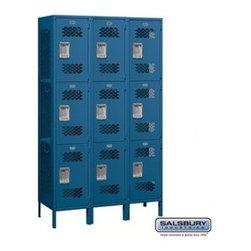 Salsbury Industries - Extra Wide Vented Metal Locker - Triple Tier - 3 Wide - 6 Feet High -Unassembled - Extra Wide Vented Metal Locker - Triple Tier - 3 Wide - 6 Feet High - 18 Inches Deep - Blue - Unassembled