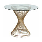 "Arteriors - Arteriors Home - Pascal Entry Table - 6568 - Round entry table with gold leaf iron spokes spiraled in an hourglass shaped pedestal and topped with glass. Features: Pascal Collection Entry TableGold LeafBeveledClear Some Assembly Required. Dimensions: H 30"" x 36"" Dia"