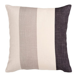 """Charcoal and Cream Stripe Pillow - 22"""" x 22"""" - Bold stripes in subtle neutrals make the Charcoal and Cream Stripe Pillow an excellent addition to your accessories when you want to add stunning finishing details to your decorated space. Complete the look of your room with a couple placed at either end of your sofa or on a bench in a master suite. Wherever you place them, these decorative pillows are sure to tie your whole room together beautifully."""