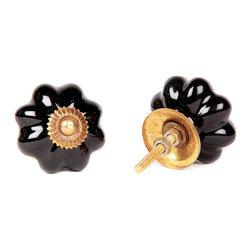 MarktSq - Black Melon Knob (Set Of 4) - Hand painted black knob with contrasting golden metal cap