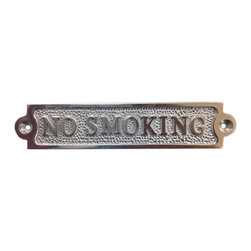 """Handcrafted Model Ships - Chrome No Smoking Sign 6"""" Nautical Decorating Beach Style Decor Beach Lifestyle - Ideal for posting in a boat, boathouse or any room featuring a nautical decor theme, this solid chrome sign clearly gets its point across. With a textured background and framing suggestive of a nautical rope or hawser, this distinctive sign will be perfectly at home on you boat, or make you feel like you're on your boat when at home or the office."""